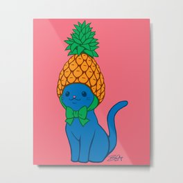 Blue Cat Wears Pineapple Hat Metal Print