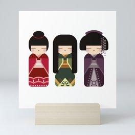 Kawaii Kokeshi Trio - Folk Art Style Japanese Doll Mini Art Print