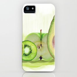 Fresh Green fruits watercolor painting iPhone Case
