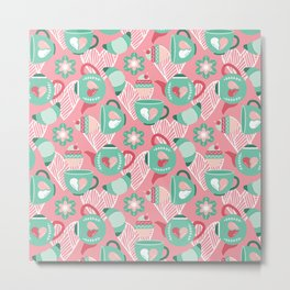 Abstract mauve pink green white sweet pattern Metal Print