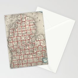 Vintage Map of Michigan (1893) Stationery Cards