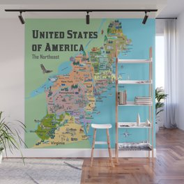 USA Northeast States Colorful Travel Map VA WV MD PA NY MS CT RI VE DE NJ With Highlights And Favori Wall Mural