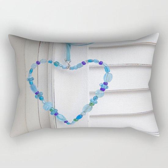 Blue Heart of beads Rectangular Pillow
