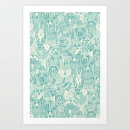 canadian animals teal pearl Art Print