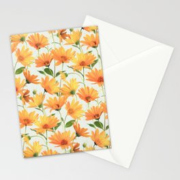 Painted Radiant Orange Daisies on off-white Stationery Cards