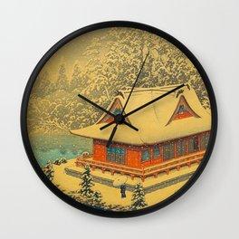 Vintage Japanese Woodblock Print Winter Red Pagoda Falling Show Blue Lake Wall Clock