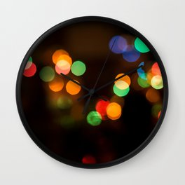 Coloured Bokeh Balls Wall Clock