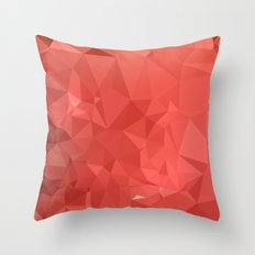 American Rose Red Abstract Low Polygon Background Throw Pillow