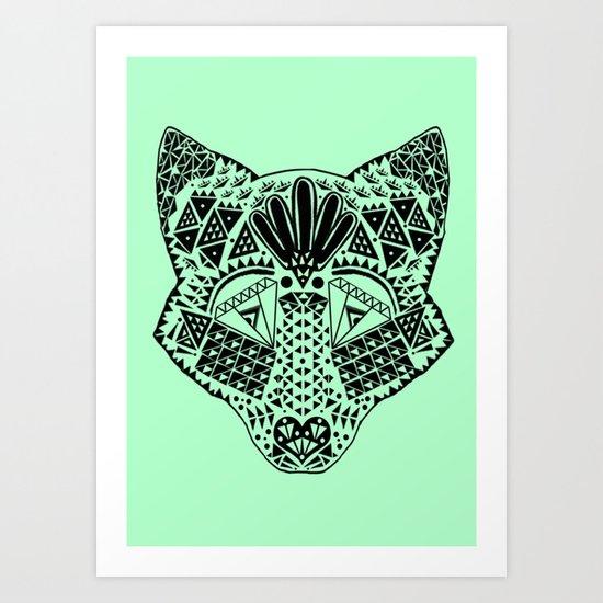 Mint Wolf Head Art Print