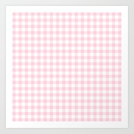 Light Soft Pastel Pink Cowgirl Buffalo Check Plaid Art Print