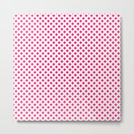 Small Hot Neon Pink Crosses on White Metal Print