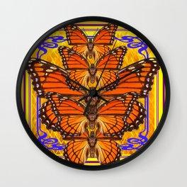 ART DECO MONARCH BUTTERFLIES GOLDEN Wall Clock