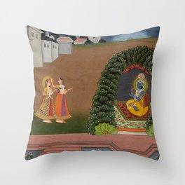 Radha's Confidante Brings Her to Krishna - 17th Century Classical Hindu Art Throw Pillow