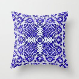 tie dye blue diamond Throw Pillow