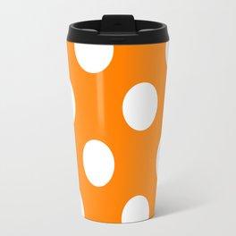 Large Polka Dots - White on Orange Travel Mug