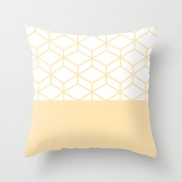 Geometric Honeycomb Lattice Color Block Pattern in Buttercream and White Throw Pillow