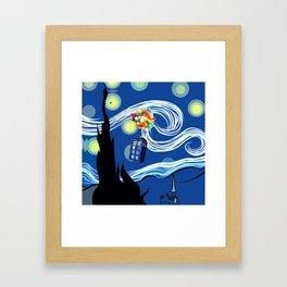 Tardis Balloons Starry Night Framed Art Print