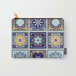 Talavera Mexican Tile – Mint & Navy Palette Carry-All Pouch