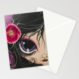 Purple Eye Girl Stationery Cards