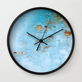 Turquoise Blue Abstract Texture Wall Clock