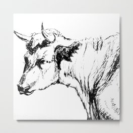 Bull Drawing Metal Print