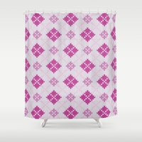 knit Shower Curtains featuring knit argyle by colli1 3designs