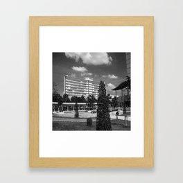 Black and white image building design Framed Art Print