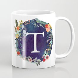 Personalized Monogram Initial Letter T Floral Wreath Artwork Coffee Mug