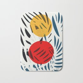 Yellow and Red Abstract Art Graphic Design Bath Mat