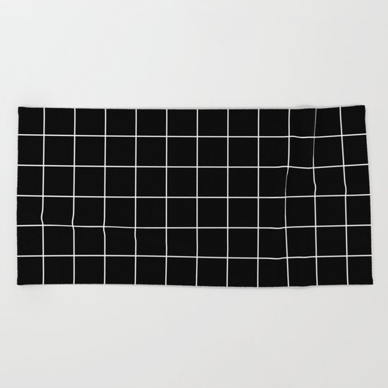 Black White Grid Beach Towel