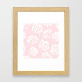 Pink Roses in Flamingo Pink Framed Art Print