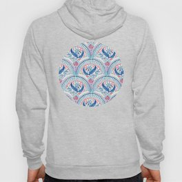 Art Deco Fresco in Cool Mediterranean Blue and Red Hoody