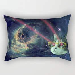 Laser cat with glasses in space Rectangular Pillow