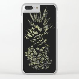 Pineapple with Glitch and Texture Clear iPhone Case