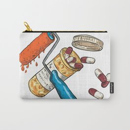 Paint Roller Medicine Capsule Bottle Drawing Color Carry-All Pouch