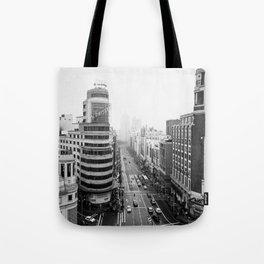 Gran Via in Madrid Tote Bag