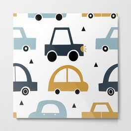 Car Children's Pattern - BEEP BEEP Metal Print