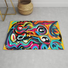 Yellow Street Art Neo Expressionist Portrait of the artist Rug