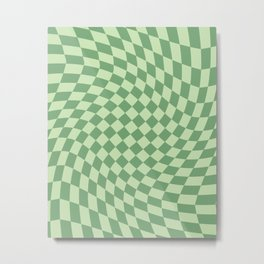 Forest Green Check Metal Print