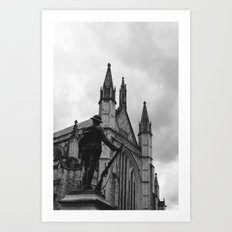 Soldier and cathedral Art Print