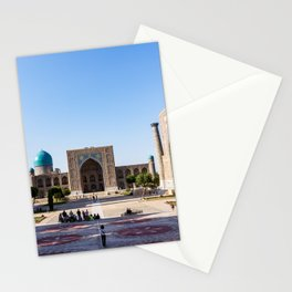 Sunset on Registan square - Samarkand, Uzbekistan Stationery Cards