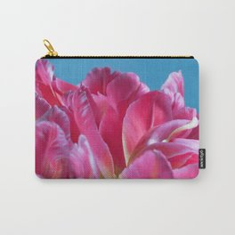 Pink Parrots Tulips petals close up II Carry-All Pouch