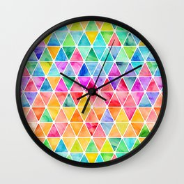 Little Rainbow Watercolor Triangles on White Wall Clock