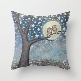 northern saw whet owls under the stars Throw Pillow