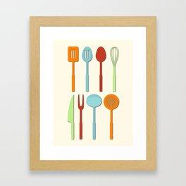 Kitchen Utensil Colored Silhouettes on Cream Framed Art Print
