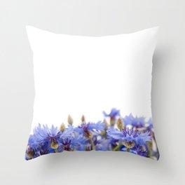 Bunch of blue cornflower flowerheads Throw Pillow