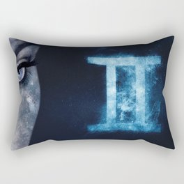Gemini Zodiac Sign. Astrology women night sky background Rectangular Pillow