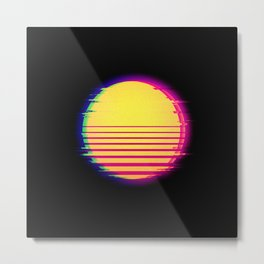 Synthwave Sun Retro Glitch Vaporwave Aesthetic Metal Print