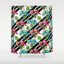 Flowers & Strips Shower Curtain