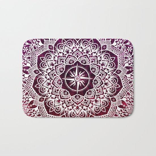 Voyaging Spirit Purple Red Mandala Bath Mat